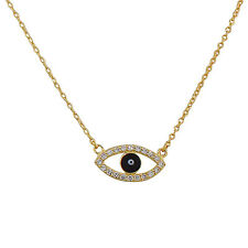 Sterling Silver Yellow Gold Evil Eye Hamsa White Crystals CZ Pendant Necklace