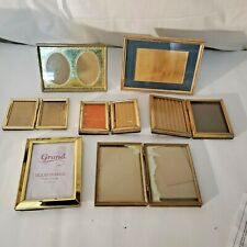 Vtg Lot Solid Brass & Gold Metal with engraved designs Picture Frame hinged 7