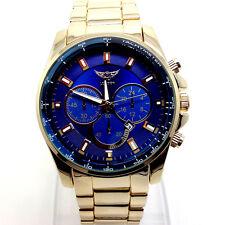 Reloj Pulsera 240X Para Hombre De Lujo Diesal Estilo Slim Cuarzo Esfera Azul Grueso Banda De Oro