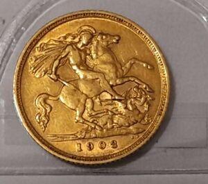 1908-Half Sovereign   22Ct Gold Coin Edward VII