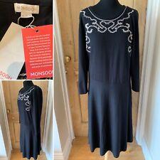 Vestido de punto negro Monzón Milly Size UK 18 Fit & Flare nuevo PVP £ 70 Bordado