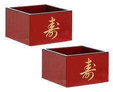 "Japanese Sake Cup Traditional Pair Set Longevity Red 3"""
