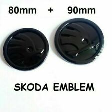 2 x FIT FOR Skoda Set 90 + 80mm Front Rear Hood Trunk Emblem Badge Gloss Black