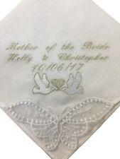 Personalised Ladies Handkerchief Pretty Doves Design,Wedding, Bride