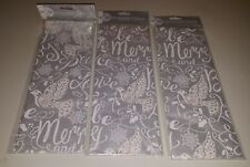 LOT 3 Fancy Silver Christmas Tissue Paper Gift 4 sheets per pack Jillson Roberts