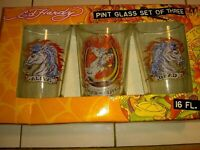 """NEW!--ED HARDY """"DEAD OR ALIVE"""" HORSE PINT GLASSES-GLASS-ORIGINAL-NEW IN BOX"""