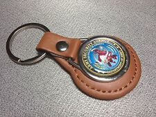 ARMY SECURITY AGENCY `DEPT. OF THE ARMY`  Leather Key Rings In Black & tan