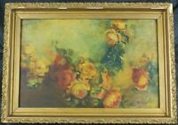 Antique Oil Painting Still Life w/Roses by Listed French Artist Georges Jeannin