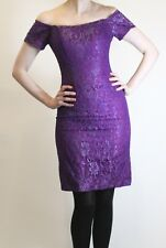 Vintage 80s PROM DRESS purple lace overlay bodycon off shoulder sz S 8 1980s vtg