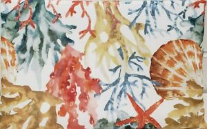 """1 Printed Fabric Tablecloth,52"""" x 70"""" Oblong (4-6 ppl) SEALIFE, CORAL REEF, T&C"""