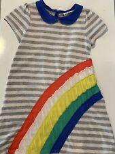 Adorable! Mini Boden Girls Cotton Appliqué  Rainbow Dress Size 5/6