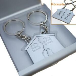 Set Partner- Schlüsselanhänger Haus mit Gravur Geschenk zum Einzug