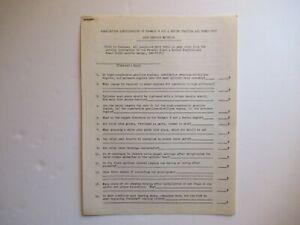 1947 IH International Farmall H tractor service school training EXAM questions