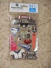 *NEW Paper House 3D Stickers Football Touch down All star Defence  Scrapbook