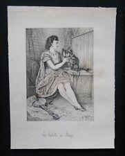 Dessin à la plume - La Toilette du Singe - H. Deniau - 1874