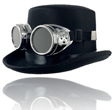 Vintage Steampunk Cyber Retro Silver Goggles & Black Top Hat Hot Punk Accessory
