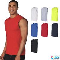 Mens Ultra Cotton Sleeveless Tank T-Shirt Muscle Gym Workout Plain Tee - 2700
