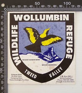 VINTAGE WOLLUMBIN WILDLIFE REFUGE CARAVAN PARK TWEED VALLEY AUSTRALIA STICKER
