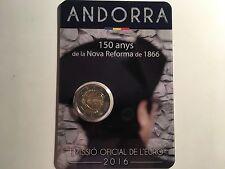 2 EURO ANDORRE 2016 150 ANS DECRET NOUVELLE REFORME 1866 COMMEMORATIVE