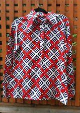 "Vintage 1970' s Ladies hippy bohemian big collar  floral shirt blouse uk10 - 38"""