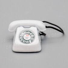 1:12 Miniatur Retro Telefon 70s Stil Weiß Für Puppenhaus