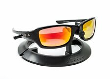 OAKLEY FIVES SQUARED POLISHED BLACK FRAME / REVANT FIRE RED POLARIZED CUSTOM