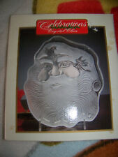 "Celebration Crystal Clear Santa Frosted Plate 8"" Christmas Holiday"