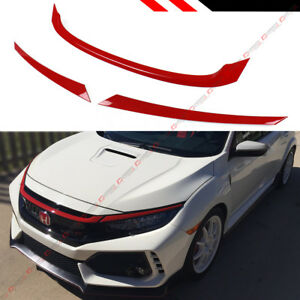 FOR:2016-2020 HONDA CIVIC JDM GLOSSY RED ABS FRONT GRILL TRIM COVER GARNISH- 3PC
