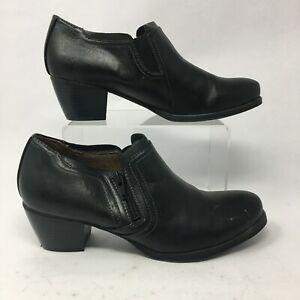 Natural Soul Womens 7.5M Casual Ankle Booties Black Leather Side Zip Block Heels