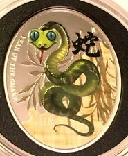 Niue Island CHINESE SNAKE $1 Lunar Calendar series Oval Colored Silver Coin 2013