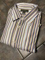 Ermenegildo Zegna Long Sleeve Striped Men's Casual Shirt. Size 2XB Big and Tall