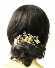 Set of 3 Gold White Silver Bridal Hair Clips Headpiece Vine Flower Pearl 1244