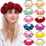 Women Girl Rose Flower Garland Elastic Headband Bridal Headwear Wedding Hairband