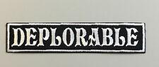 "Biker vest patch  DEPLORABLE 4"" X 1"" IRON/SEW ON (WHITE ON BLACK)"