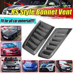 Pair Universal Carbon Fiber Look RS Style Car Front Hood Bonnet Vents Scoop AU~