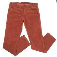 AG Adriano Goldschmied Women Sz 32 R The Stevie Slim Straight Jeans Corduroy Red