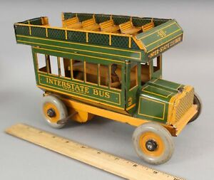 Antique Strauss Green Interstate Bus #98 Tin Lithographed Windup Toy No RESERVE