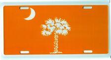 "South Carolina Palmetto State Logo Orange & White Stamped License Plate 12"" x 6"""