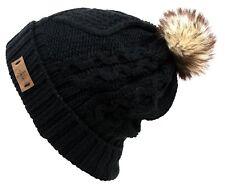 Women's Faux Fur Pom Pom Fleece Lined Knitted Slouchy Beanie WInter Warm Hat