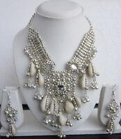 Sea Shell Mirror Necklace Earring set Choker Gypsy Boho Festival Fashion Jewelry