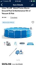 Intex 15ft x 48in Metal Frame Above-Ground Swimming Pool and Maintenance Kit