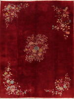 Art Deco Oriental Floral Wool Area Rug Hand-Knotted Vintage 9x12 Chinese Carpet