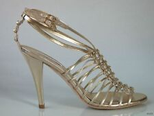 new $295 Pour La Victoire light gold leather strappy heels shoes 9 - very dressy