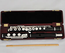 Professional Ebony Wooden Flute 17 Open Holes Offset G Split E B Foot Wood Case