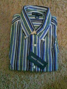 GRANT THOMAS 100% Cotton $65 Multi-Color Striped Corduroy Dress Shirt Large NWT