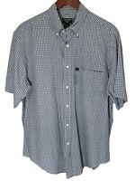 Polo Jeans Co Ralph Lauren Mens Medium M Blue White Plaid Short Sleeve Shirt