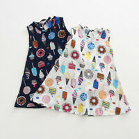 Toddler Baby Kids Girls Sleeveless Ice Cream Cake Print Dresses Casual Clothes U