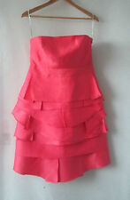 Out With Evie sz 12 Coral Silk Linen Dress
