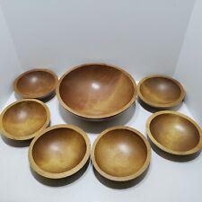 New listing Vintage Baribocraft Canada Maple Color Wooden Salad Bowls 7 Piece Set