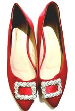 Red Crystal Buckle Satin Flats
